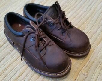 Vintage Brown Leather Steel Toe Doc Marten Dr Marten Size 6  Made in England Unisex 1990s Safety Shoe