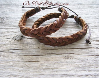 Brown Leather Braided Bracelet, Unisex Bracelet,Boho Chic