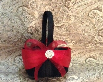 flower girl basket wedding red and black custom made