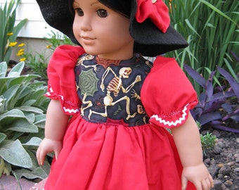 Halloween Costume dress and witches hat for american girl or 18 inch doll