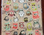 Stickers Owl paper Sticker Set Deco  1 Sheets