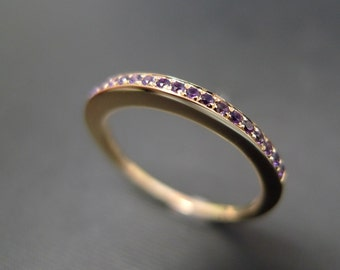 Amethyst Wedding Ring in 14K Yellow Gold, Amethyst Ring, Wedding Band, Pave Ring, Pave Wedding Band, Half Eternity Band, Purple Wedding