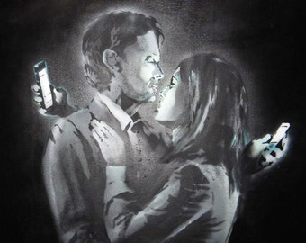 Banksy Custom Canvas for Dragos 42x60 - Mobile Lovers