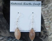 Pale peach sunstone earrings coral pink moonstone semiprecious stone jewelry gemstone jewelry packaged in a gift bag 2557 B