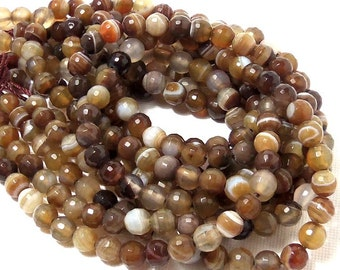 Agate, Brown/White, Round, Faceted, 6mm, Banded, Small, Gemstone Beads, Full Strand, 60pcs - ID 358