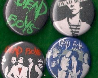 """DEAD BOYS 1"""" Pins Buttons Badges Set of 4 Stiv Bators punk rock NY77 CBGBs 1 inch Pinback"""