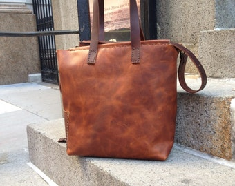 Cognac Leather Tote Zip Top Sturdy Flat Carrying Handles Full Grain Leather Smartphone Laptop Gear Handmade Tote Bag