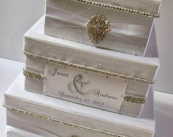 Wedding Card Box, Bling Card Box, Rhinestone Money Holder, Unique Wedding Gift Box  - Custom Made