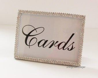 Cards Sign, Card Box Sign with Rhinestones, Picture Keepsake Frame