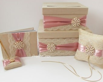 Wedding Card Box, Ring Pillow and Guest Book Custom Made