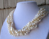 6 Rows of White Baroque Fresh Water Pearl Necklace,Birthday Gift,Wedding Gift,Gift,Bridal Gift,Bridesmaid Gift