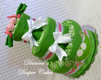 Peas in a Pod Baby Diaper Cake Girl Boy Single Twins Triplets Neutral Light or Dark Skin Shower Gift or Centerpiece