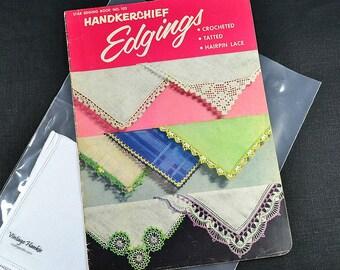 HANKIE EDGING PATTERNS, with White Irish Linen Hankie, Star Edging Book 1953 No. 102, Crochet Lace, 26 Edgings Excellent Condition