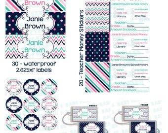 School Label Starter Pack, waterproof labels, bag tags, school money stickers, backpack tag, Kindergarten starter pack, dishwasher safe