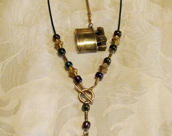 Steampunk Lighter Necklace Handmade Leather & Beaded OOAK Pendant Working Lighter Keychain