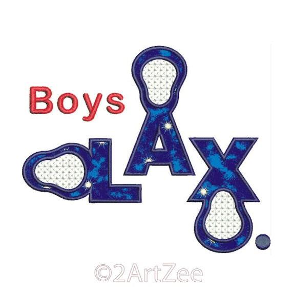 Boys Lacrosse Applique Design Clever wording with LAX design