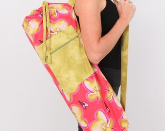 Yoga Bag in Pink Watercolor Floral with a Zipper Pocket