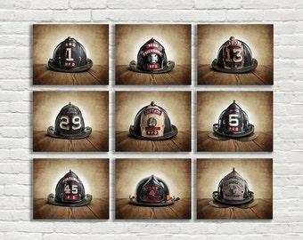 ON SALE Vintage Fireman Helmets, Set of Nine Photo prints, Nursery Decor, Rustic Decor, Boys Room Decor,