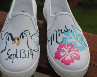 New Wedding shoe design hand painted size 6.5 - SOLD