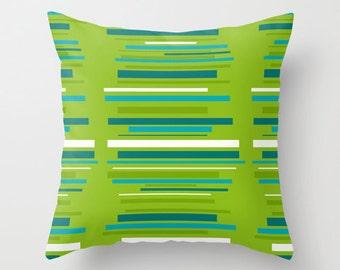 Outdoor Pillow, Modern Outdoor Pillow, Striped  Outdoor Pillow, Green Outdoor Pillow, Mid Century Modern Outdoor Pillow, Throw Pillow