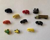 Transportation theme plastic buttons Jesse James Favorite Findings lot Cars Trains Planes