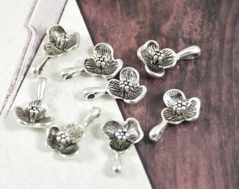 Sale 10pcs of Antique Tibetan Silver  Flower Pendants Link  Beads Finding Beads Filigree 16mmx11mm Fitting jewelry Supplies
