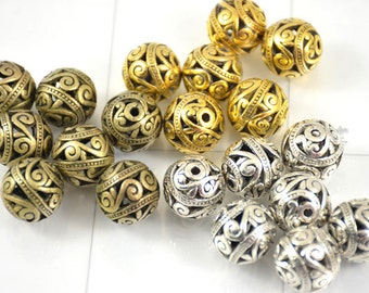 5 pcs of Antique Silver  Vintage Bronze Yellow Filigree charm Flower Balls Findings  15mm Charm Ball Beads