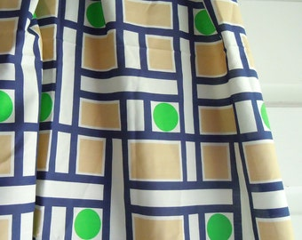1970s Geometric Vintage Fabric- Green Circles, Blue and White Stripe, Tan Rectangles- Vintage Shape Fabric- 1 Yard