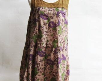 D25, Queen Elizabeth Garden Cute Floral Yellow Brown Cotton Dress