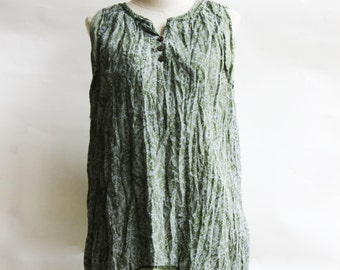 B6, Floral Two Layers Sleeveless Green Cotton Blouse, Green shirt