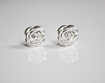 Sterling silver Rose Post Earrings