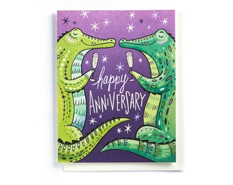 Anniversary Card: Alligators with Champagne, illustrated and hand-lettered in purple and green