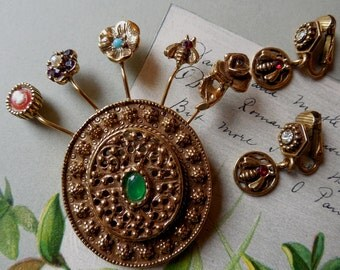 Vintage GOLDETTE Hat Pin Stickpin Brooch & Earrings Set    KBX35