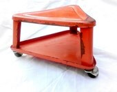 Mid-Century Industrial Triangle Red-Orange Rolling Stool