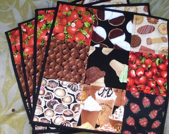 Dessert first quilted placemats