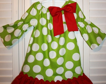 Lime  White Polka Dots Red Bow Peasant  Dress  Lime Long sleeves Girls Dress .  Size 6m-8..