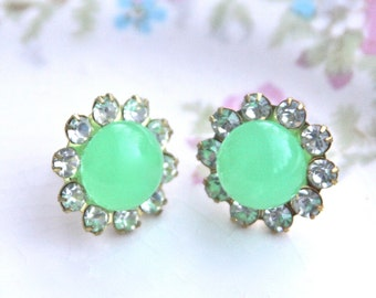 Vintage Green Opal  Round Rhinestone Post Earrings -  Wedding, Bridesmaid, Bridal,Honeymoon, Beach