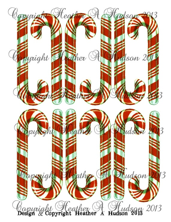 Vintage Shabby Chic Christmas Candy Canes Candycanes Tags Ephemera Ornaments Digital Collage sheet Printable