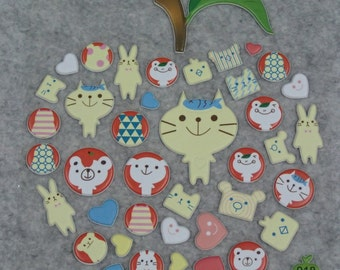 Mixed Puffy Apple Animals Stickers - AA03