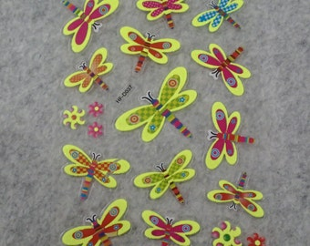 Mixed Cute Glitter Glow In The Dark Dragonfly Stickers