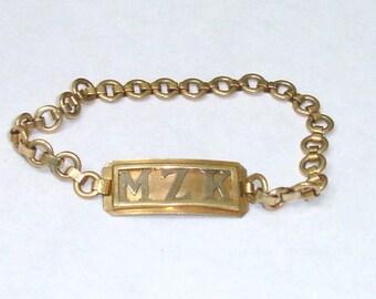 Vintage Gold Filled Child's Art Deco ID Bracelet-MZK by P.R. Sterling Co.