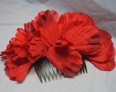 red floral hair comb - thick hair comb