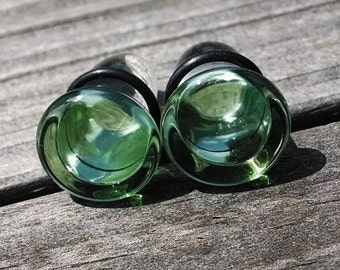 Clover Button Single Flare 7/16 Inch glass gauged ear plugs earrings for stretched piercings
