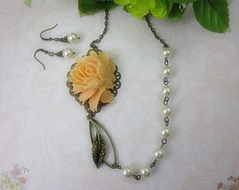 Peach Rose Necklace and Matching Earrings Gift Set. Romantic Floral Garden Wedding. Bridesmaids Jewelry.
