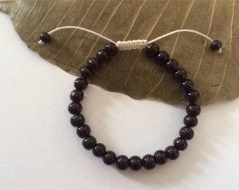 Tibetan Rosewood Wrist Mala/ Bracelet with White String