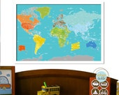 World Map Poster, Playground World, 24X36, Travel Artwork, Travel gift, Farewell, Gift for home, Maps for kids