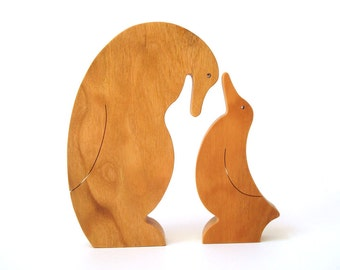Wood Penguin Puzzle Wooden Toy Childrens Animal Puzzle 2 Piece Cherry