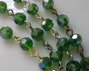 36 Inches, 6 mm Faceted Round,  AB Emerald Green  Glass Beaded Rosary, Jewelry Making Supply, gold, gunmetal, silver or brass Chain