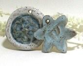 SALE - 2 for 5 Ceramic Pendants (Winter Blue Flowers)
