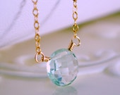 Green Amethyst Necklace, Gemstone Pendant, Simple Sterling Silver or Gold Jewelry, Pale Mint, Coin Shaped, Free Shipping
